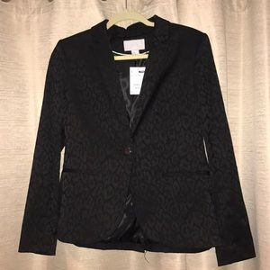 NWT Beautiful H&M Leopard Black Blazer Jacket